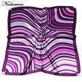 Women  Geometry  Print square silk scarf women bandana Luxury Scarves lady Brand Silk Scarf High Quality  bank work wear scarf