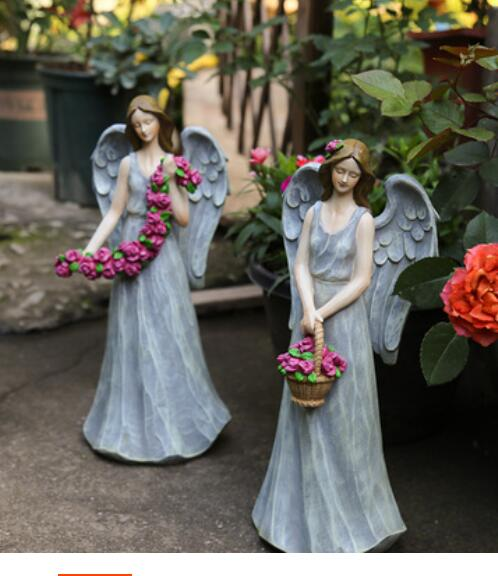 Courtyard Outdoor Garden American Country Horticultural Decoration Resin Character Angel Flower Fairy home living room wooden|Figurines & Miniatures| |  - title=