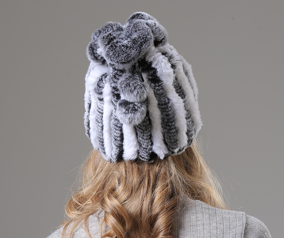 Womens Winter Hats Scarf Knitted Real Rabbit Fur Hat Natural fur Neck Scarf Girls Winter Warm Hat Beanies (11)