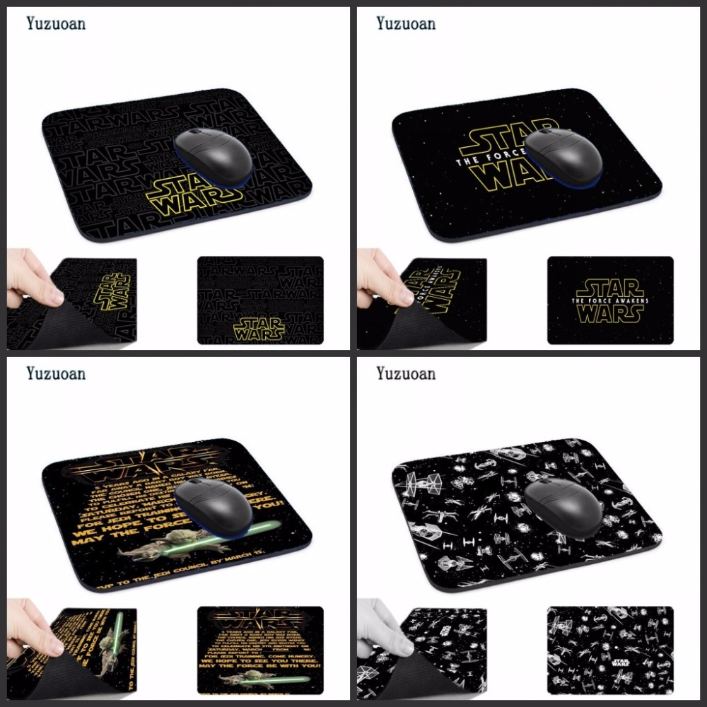 Yuzuoan Top Game Golden Star Wars Logo Computer Mouse Pad Mousepads Decorate Your Desk Non-Skid Rubber Pad No Overlock Edge