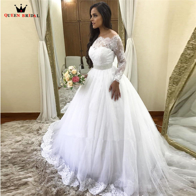 Custom Made Ball Gown Long Sleeve Fluffy Tulle Lace Belt Elegant Formal Women Wedding Dresses 2019 New Wedding Gown NY72