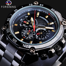 Forsining Automatic Watches Men Date 3 Dial Luminous Hands Stainless Steel 30M Waterproof Male Watch Black Mechanical Wristwatch цена и фото