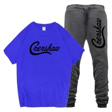 New 2019 CRENSHAW Letter Print High Quality Cotton T Shirt Men's T-Shirt and Pants Set CRENSHAW Letter Sweatpants CRENSHAW Sets недорого