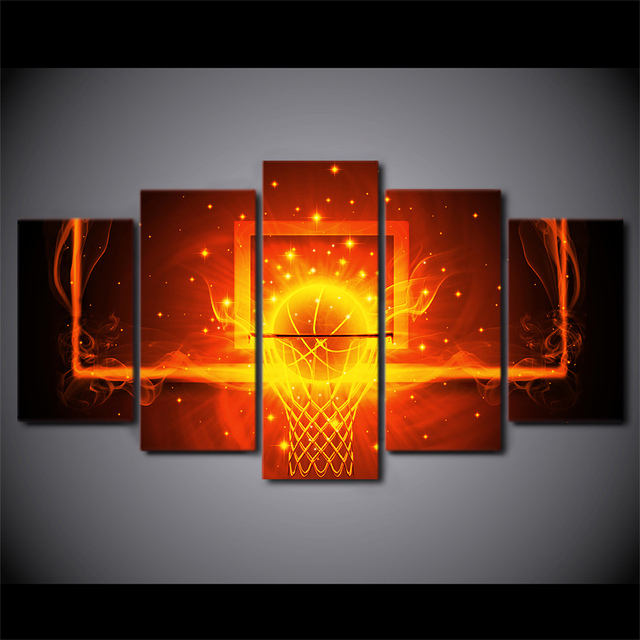 5 teile satz gerahmte hd gedruckt feuer basketball kreis. Black Bedroom Furniture Sets. Home Design Ideas