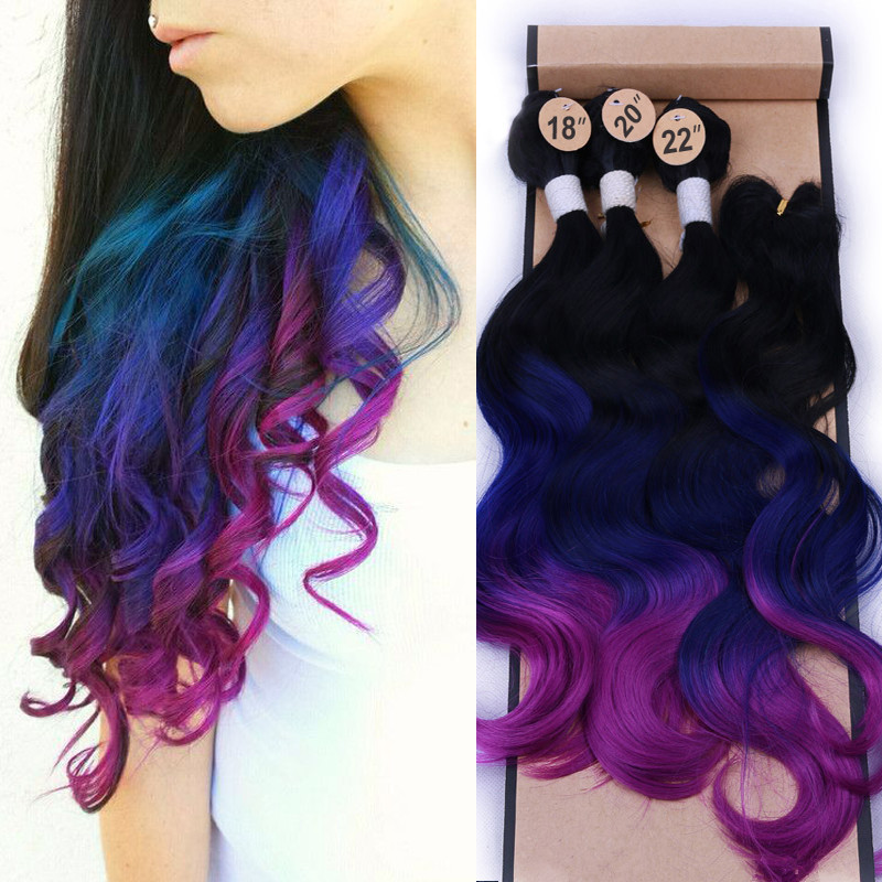 Wignee High Density Synthetic Hair Extension For Black Women Hair Bundles With Closure 3 Tone Ombre Color Purple/Blue/Grey Hair