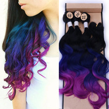 Wignee  Synthetic Hair Extension For Black Women Colorful Hair Bundles With Closure 3 Tone Ombre Color Purple/Blue/Grey Hair