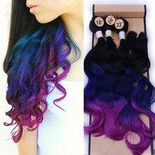 Wignee sentetik saç uzatma siyah kadın renkli saç demetleri ile kapatma 3 ton Ombre renk mor/mavi/gri saç