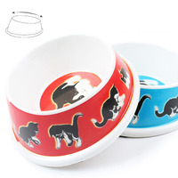 1 Piece Melamine Uneven Cat Dog Feeding Bowl Animal Printing Blue And Red Pets Eco Friendly