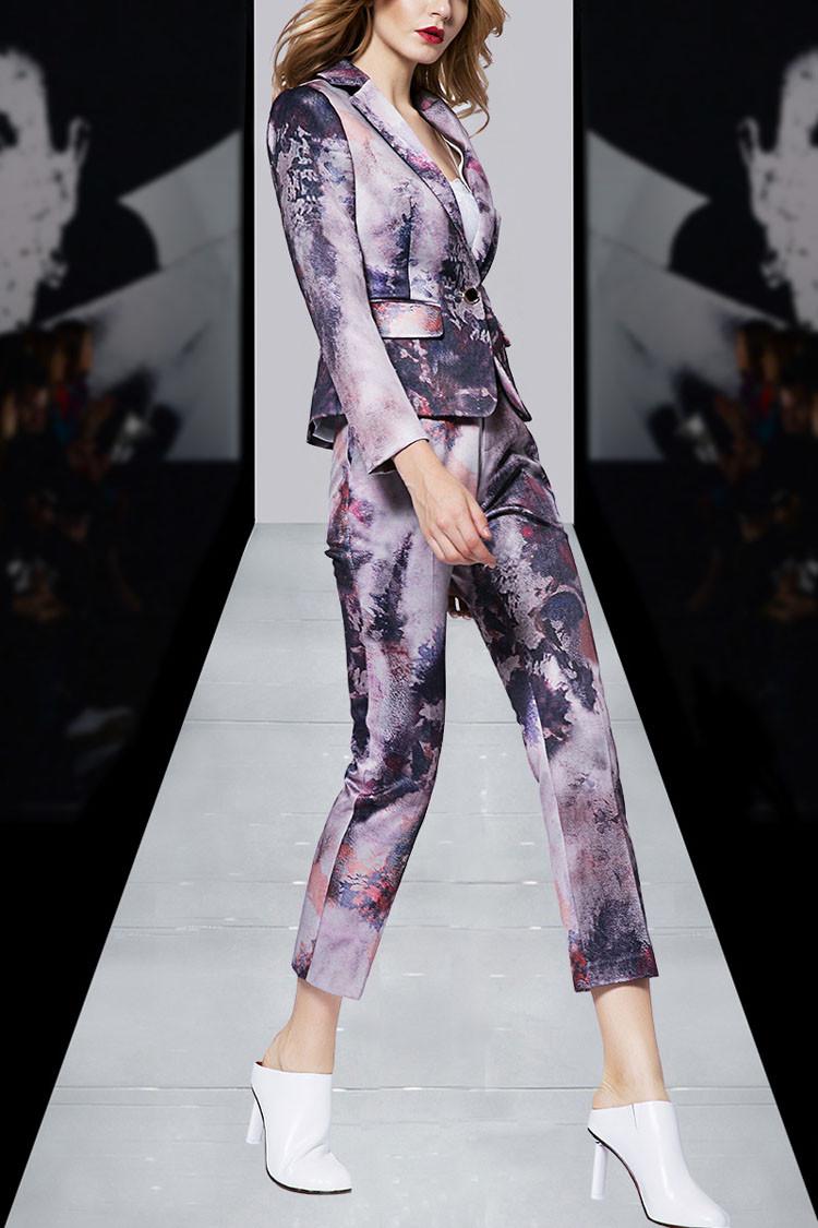 Print Women Business Suit Purple Color Pants Set 2017 01