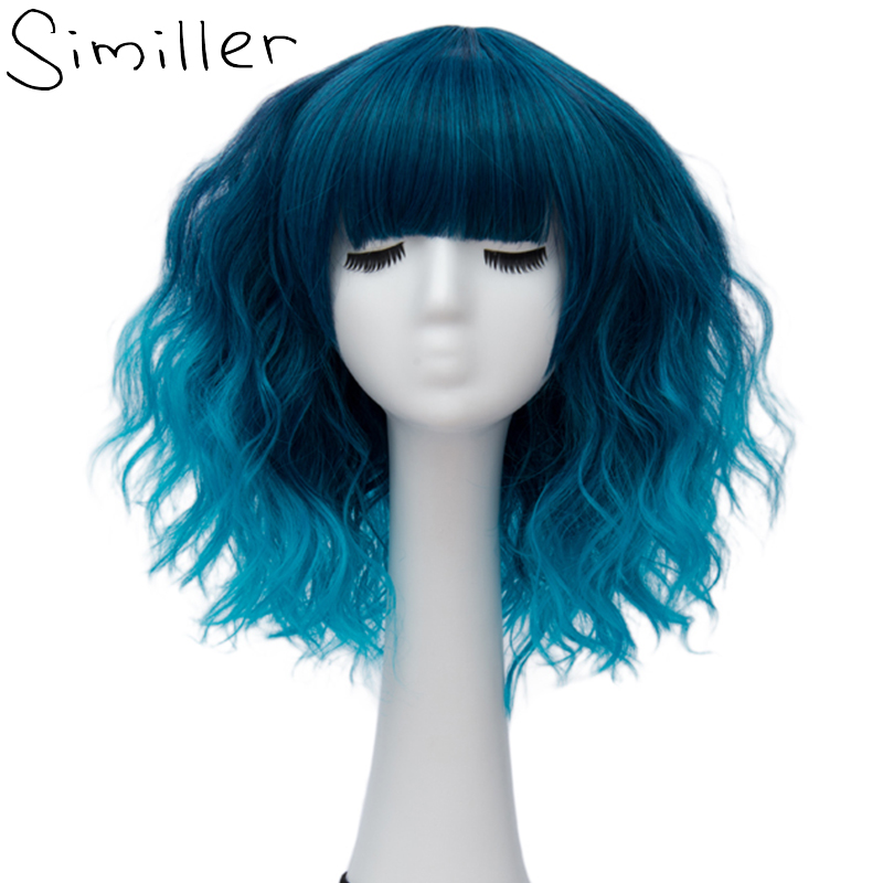 Similler Ombre Green Blue Gray Party Cosplay Wig Short Water Wave Hair Synthetic Wigs For Black Women 14