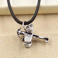 New Fashion Tibetan Silver Pendant airplane plane Necklace Choker Charm Black Leather Cord Factory Price Handmade jewelry