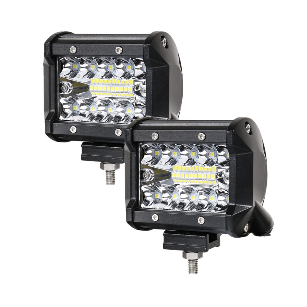 2PCS 140W Triple Row LED Light Bar 4inch Spot Flood Combo Beam LED Driving Lights Off Road Lighting LED Work Lights for Truck