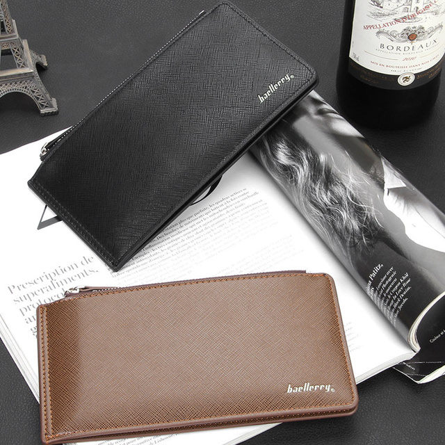 75eda85739ad Mens Bifold Wallets Double Zipper Slim Wallet with Snap Button Close Offer  Many Card Slot Unique Long Leather Wallet 053