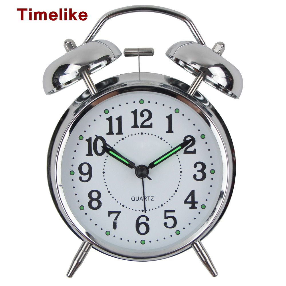 2018 Hot SellingTable Alarm Clock Modern Design lMetal Desk Clock Quartz Luminova Wake Up Light Despertador Reloj Madera