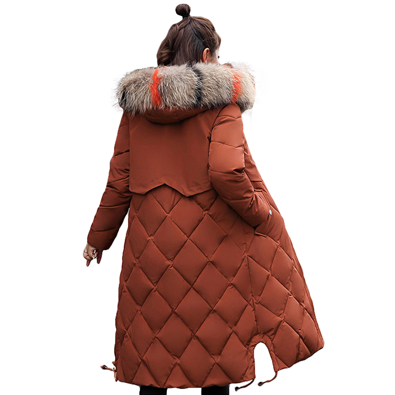 New Fashion 2018 Winter Jacket Women Colorful Big Fur Hooded Thick Down   Parkas   Long Female Jacket Coat Slim Warm Winter Outwear