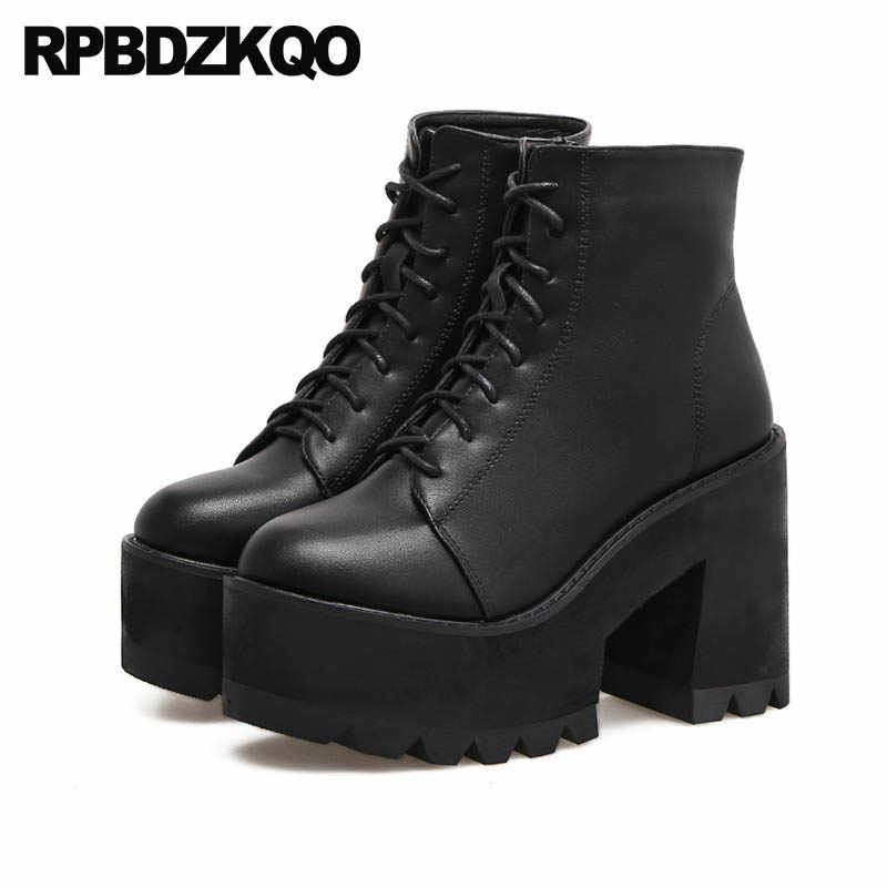 5f03d6b155 Extreme Fall High Heel Lace Up Shoes Round Toe Chunky Women Ankle Gothic  Platform Boots Punk