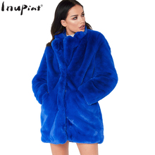 INUPIAT 2017 Winter Faux Fur Coat for Women Luxury Style Solid Thick Long Warm Fake Fur Coats for Ladies Plus Size S~XXL