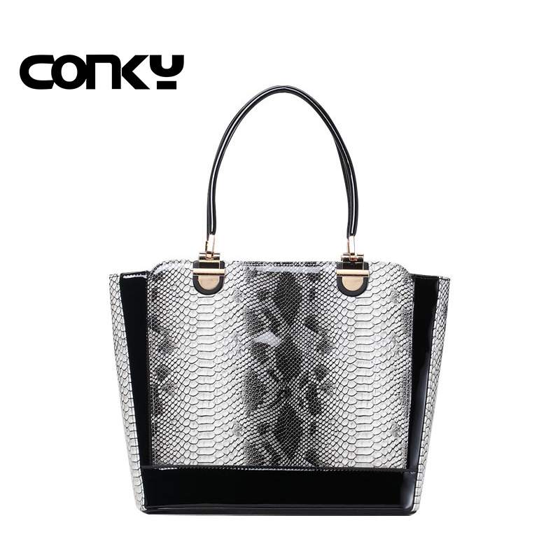2017 Famous Branded Luxury Serpentine PU Leather Tote Hand Bag Designer Handbags High Quality Women Shoulder Bags Bolsa Feminina new mini luxury tiger head 3d relief designer alligator serpentine women handbags shoulder leather bags tote bag