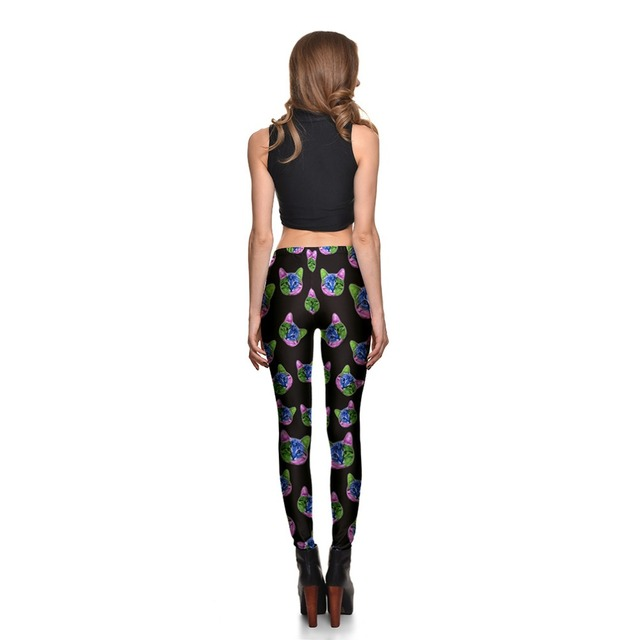 HOT Sexy  Fashion Slim Pirate Leggins Pants cat head digital printing leggings female personality high quality plus size
