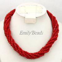 2015 Women Necklace Nigerian Wedding African Crystal Beads Necklace Costume African Necklace Jewelry Free Shipping AMJ203