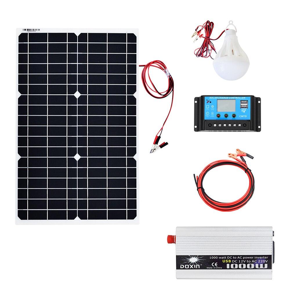 30 W 12 V panneau solaire 1000 W onduleur 220 V ou 110 V + PWM 10A contrôleur de Charge chargeur de batterie panneau Kit solaire système maison en plein air