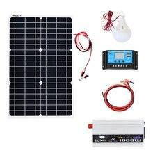30 Вт 12 В солнечная панель 1000 Вт инвертор 220 В или 110 В + ШИМ 10А Контроллер заряда батареи зарядное устройство комплекты солнечной панели системы дома на открытом воздухе