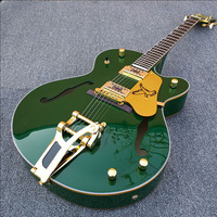 Custom guitar,Full hollow body Jazz Electric Guitar , Army green body, Gold Hardware Guitarra,Bigsby