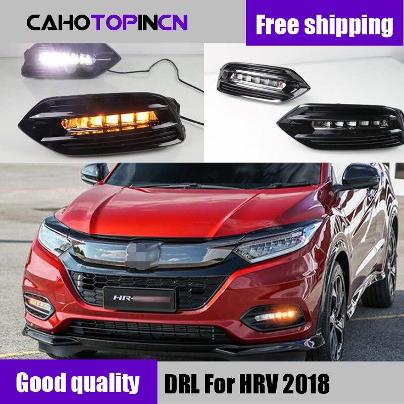 2PCS LED Daytime Running Light For Hyundai HRV HR V Vezel 2019 Yellow Turn Signal Function