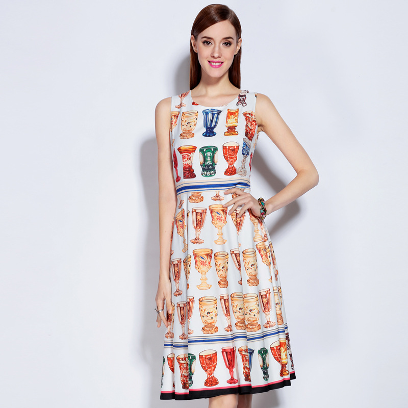 High Quality 2018 Spring&Summer Newest Fashion O Neck Sleeveless Wine Glasses Colorful Print Elegant Dress women