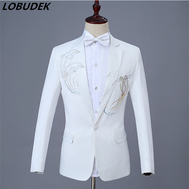 c73f55ec White Men's Suits Adult Singer Stage Chorus Costume Sparkly Crystal Coat  Jacket Nightclub Host Party Prom Studio Show Outfit