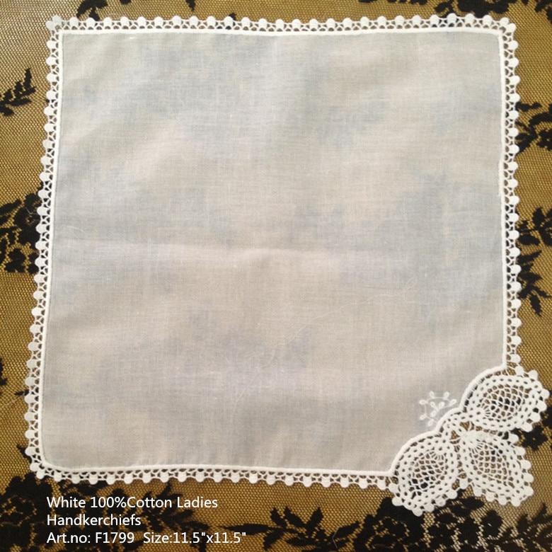 Set Of 100 Fashion Ladies Handkerchiefs 11.5-inch Cotton Sweet Heart Handkerchiefs Lace Edging Wedding Hankies Bridal Hanky