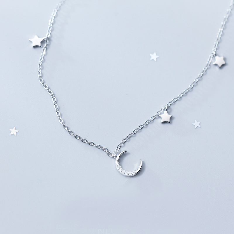 MloveAcc Elegant 925 Sterling Silver Moon Stars Charm Pendant Necklaces for Women Fashion Silver Necklace Choker