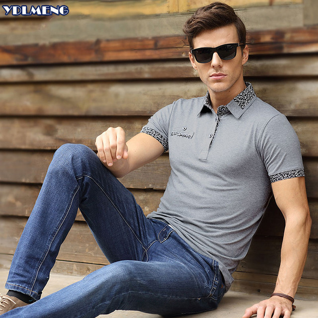 2016  Summer  Short  Sleeve Mens  Polos Homme Turn Down Collar Tops Cotton Brand Fashion Design  xxxl Plain Solid Clothing