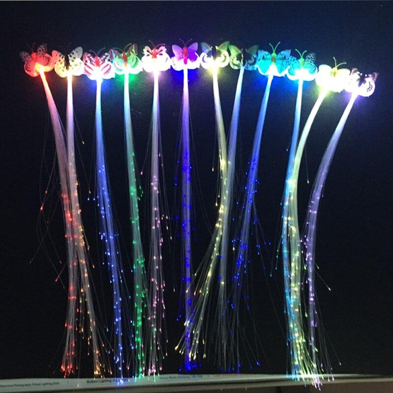 12pcs / lot 플래시 LED 브레이드 쇼 파티 장식 나비 빛나는 끈 광섬유 와이어 머리핀 빛 머리 점멸 깜박이