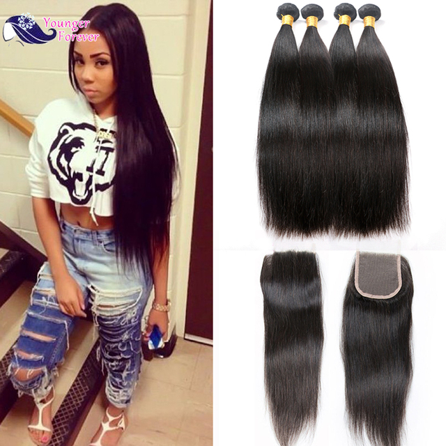 Peerless Virgin Hair with Closure 7A Peruvian Virgin Hair With Lace Closure 4 Bundles Straight Hair With Closure Grade