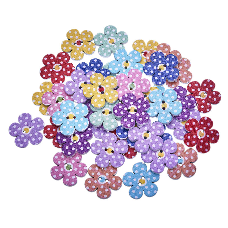 Flower Shaped Buttons Home Decoration Crafts Wooden Buttons SCrapbooking 50Pcs 2 Holes Mixed Wood  Sewing Buttons 19X19MM