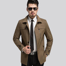 New 2017 Style Men's Clothing Men Trench Coat Long Coffee Trench Coat Men Slim Fit Male Overcoat Plus Size XXXL Trench For Men