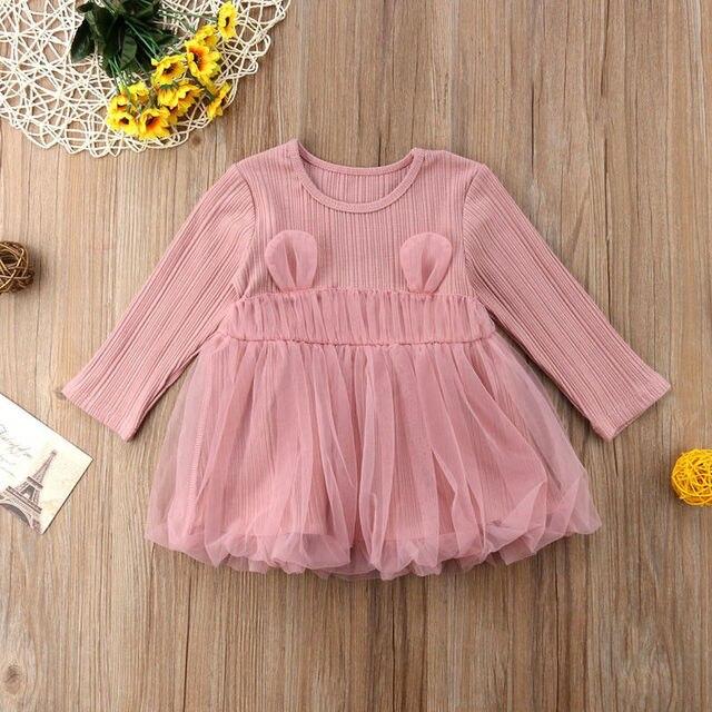 1f1bc94718b Mignon bébé fille robe Bébé Filles vêtements D été tricot et Dentelle Robe  Princesse Partie