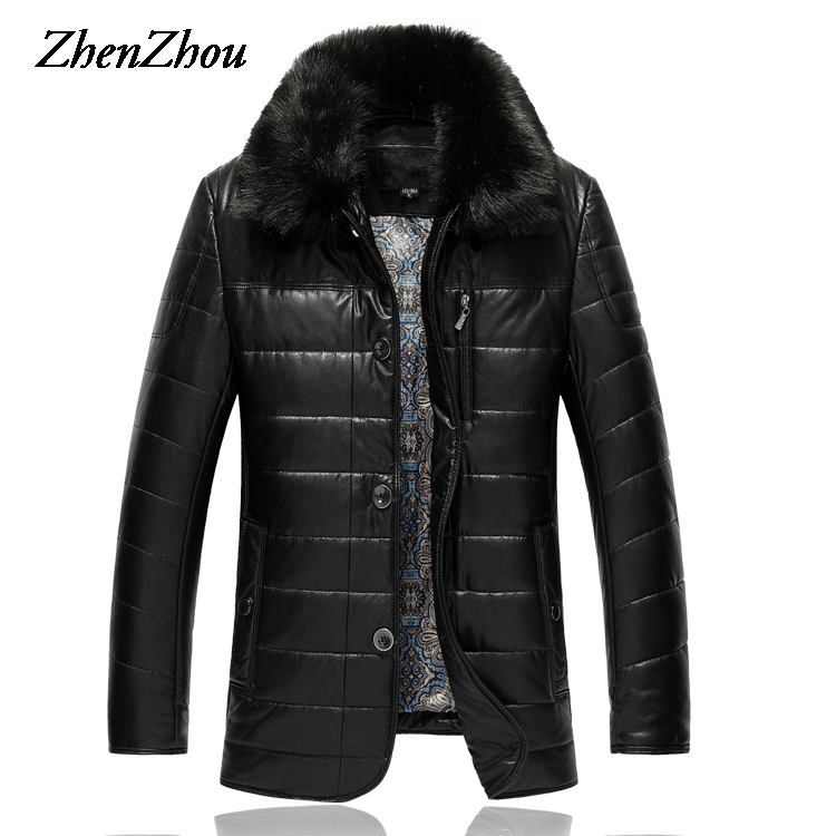 XL-9XL Fur Collar Casual Solid Leather Jacket Mens Coat 2017 Mens Winter Jacket Men Leather Jackets Male Plus Size Top Quality free shipping brand a2 style leather clothing plus size man s 100% genuine leather jackets classics mens engraved jacket quality