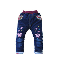 Fashion Cotton Baby Girls Jeans Butterfly Flower Print Blue Jeans Spring Autumn Thick Girls Pants Elastic