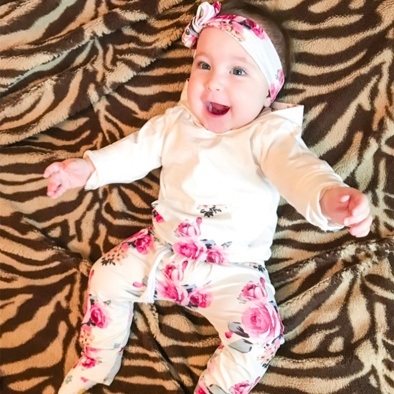 0-2T Newborn Clothes Baby Girl Clothes Suit 3Pcs White Tops+Rose Pant+Headband Autumn Carters Baby Set For Girl Flower Print D20