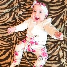 0-2T Newborn Clothes Baby Girl Suit 3Pcs White Tops+Rose Pant+Headband Autumn Carters Set For Flower Print D20
