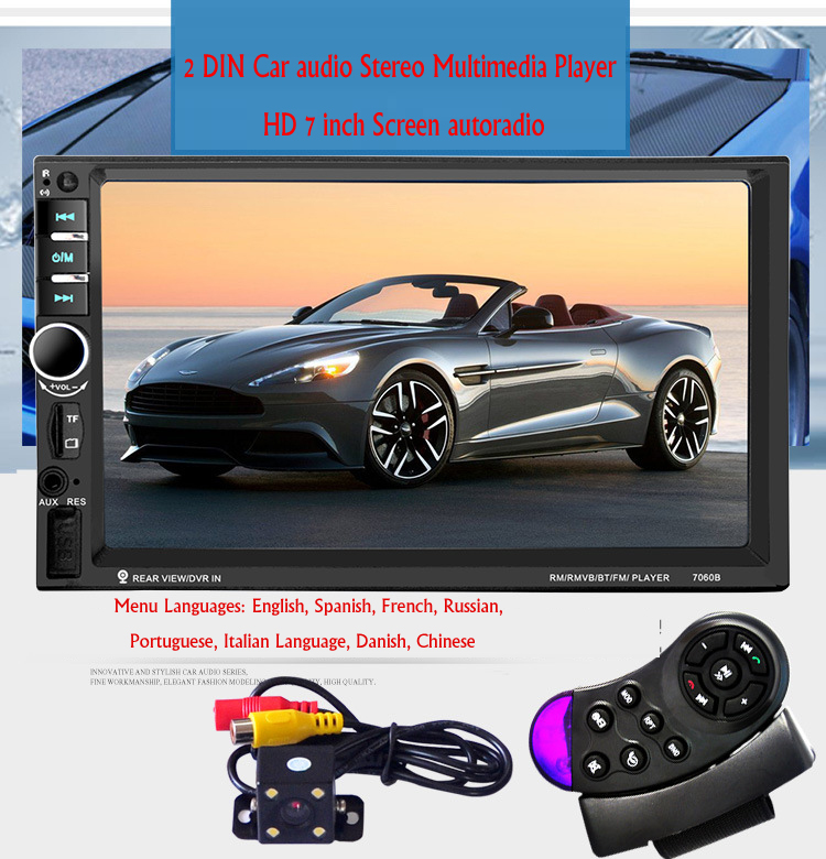 New 2 DIN Car audio Stereo Multimedia Player HD 7 inch Screen autoradio bluetooth car radio MP3 MP4 MP5 SD USB TF support Camera 1563u 1 din 12v car radio audio stereo mp3 players cd player support usb sd mp3 player aux dvd vcd cd player with remote control