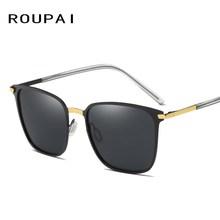 ROUPAI Luxury Sun glasses Polarized Sunglases Men Metal Frame UV400 Man Glasses Fashion Aviator Mirror Sunglasses Retro P0864