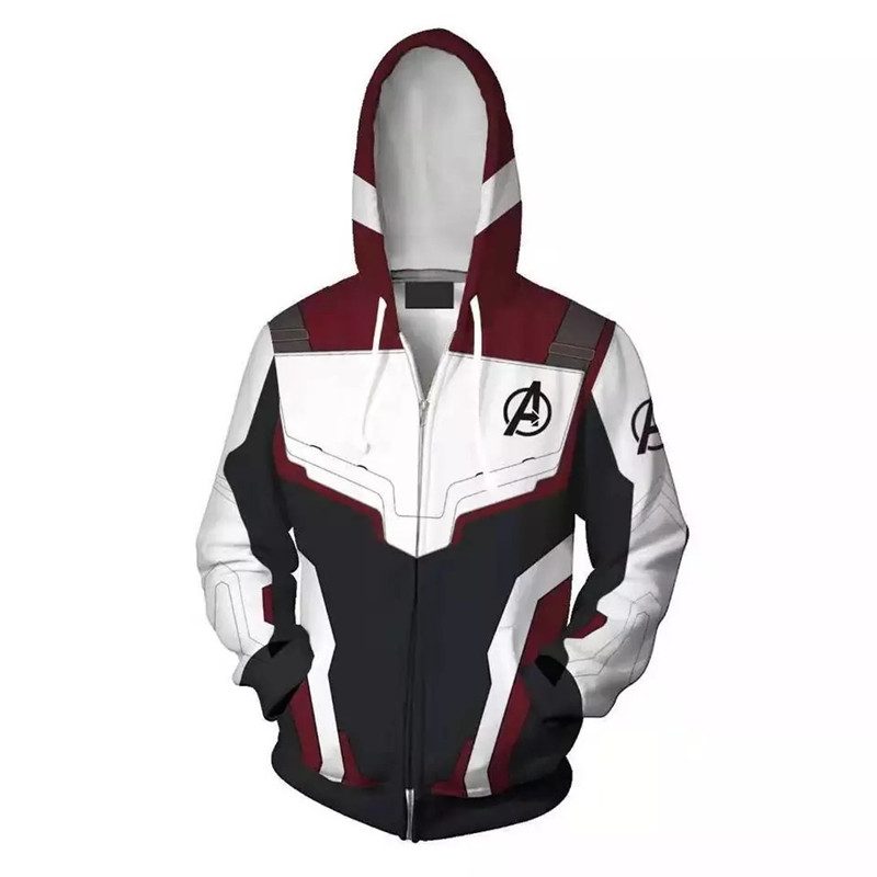 The Avengers 4 Endgame 3D Quantum Realm Hoodie Unisex Cosplay Costume Autumn anime 3D Printing zipper Jacket Hooded Hoodies