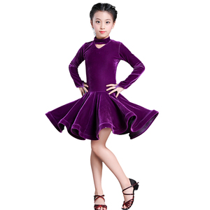 Image 5 - Dzieci dziewczyna wino aksamitne sukienki latynoskie gimnastyka Dancewear konkurs strój do tańca sukienka do tańca towarzyskiego dla dzieci dla dziewczynek