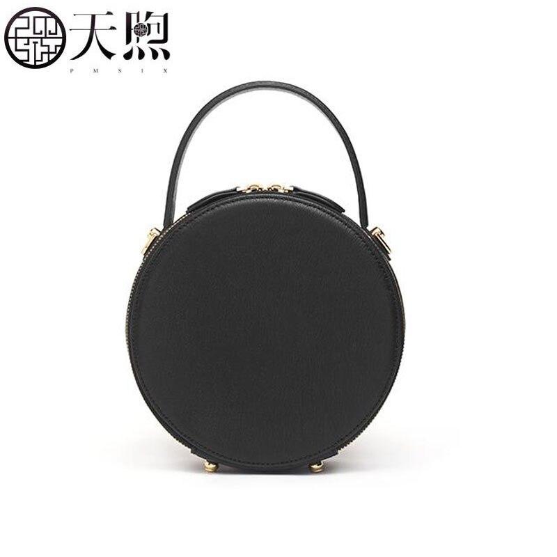Pmsix nova pequena bolsa feminina 2019 novo saco Do Mensageiro de moda bolsa rodada retro redonda pequena bolsa de ombro bolsa - 4