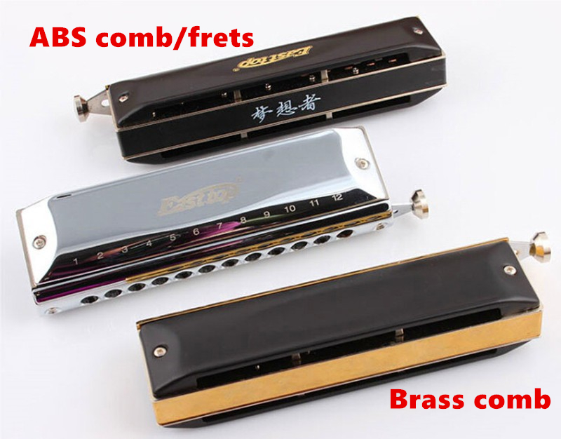 Chromatic Harmonica 12 Hole 48 Tone East top C Armonica Hole Cromatica Mouth Ogans Instrumentos de Musica ABS or Brass Fret