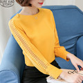 2017 new women chiffon blouse plus size O-neck chiffon Long sleeves women clothes loose with shirt yellow red  white 821F 35