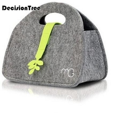 Thermal Cooler Felt Cloth Lunch Bag Concise Gray Insulated Waterproof Carry Storage Picnic Pouch bag